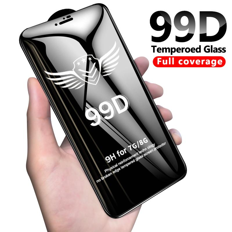 Vitre de protection 99D pour iPhone 6 6S 7 8 plus X XR Verre XS MAX sur iPhone 7 6 X film de protection écran iPhone 7 plus protection d'écran