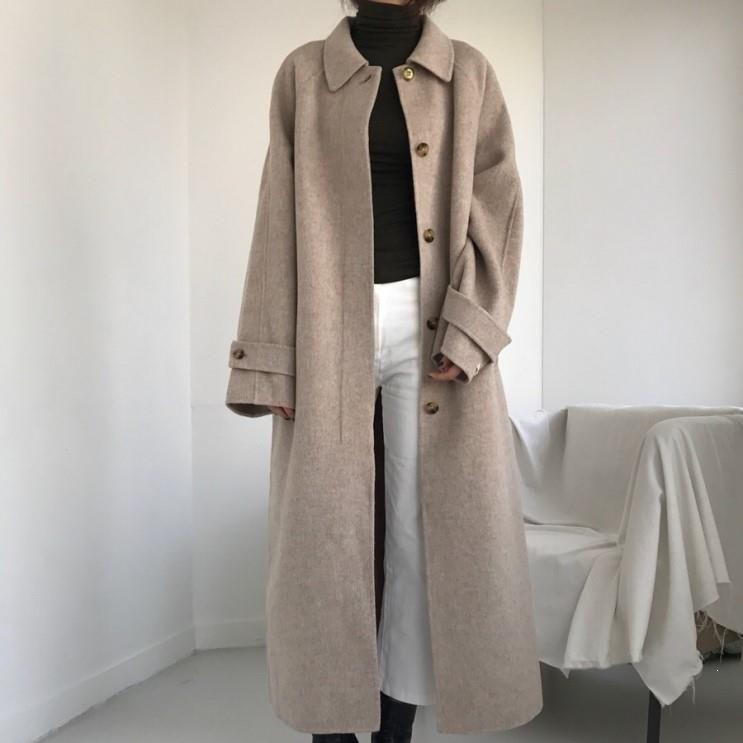 Plus Size Coat Femmes Ceinture Woollen Tourner à col simple boutonnage Manteaux Casual solide Outwear Pardessus
