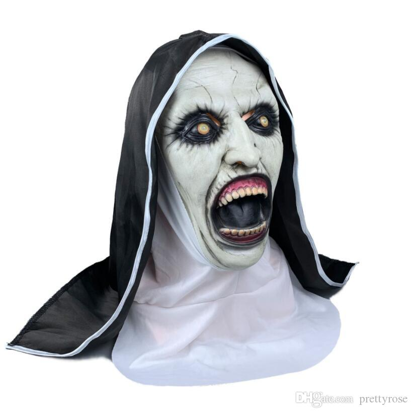 نون الرعب قناع تأثيري Valak أقنعة اللاتكس مخيف مع الحجاب الحجاب هود الخوذة كامل الوجه الرعب الشحن هالوين الدعامة الحرة