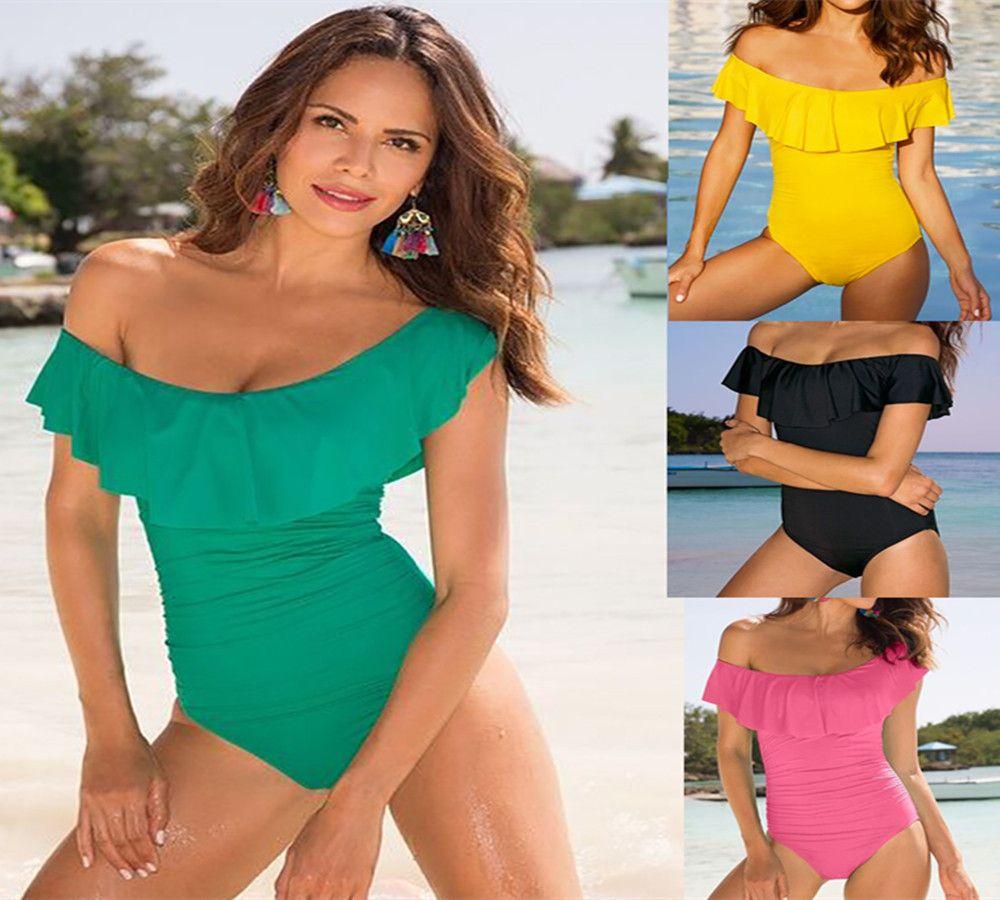 Fashion Sexy Women's Ruffled Swimsuit Bikini Summer Swimsuit Beach Conjoined Swimsuit Push Up Padded Bikini 2019 New
