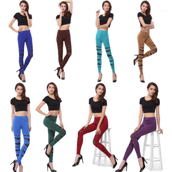 Sexy Mesh Hollow Leggings Casual Solid Color Bandage Cross High Waist Cropped Pants Famale Pants Womens