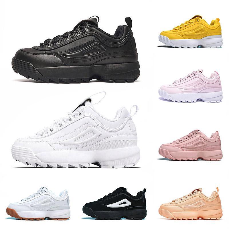 fila disruptors 2 2019 Designer-Schuhe Disruptors 2 II für Trainer Frauen Laufschuhe Rosa Weiß Gelb Chaussure Femme Training Leder Sport Plateauschuhe