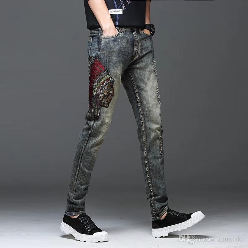 2020 Men Luxury Designer Indian Head Hip Hop Mens Jeans Fashion Vintage Chinese Style Mans Denim Pants For Man Size 28 34 From Zhuxiake 33 37 Dhgate Com