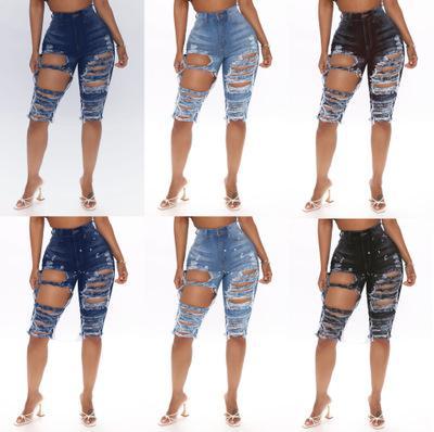 Женщины Лето денима джинсы высокой талией Ripped Hole колен джинсы женские Тощий Bodycon карандаш штаны