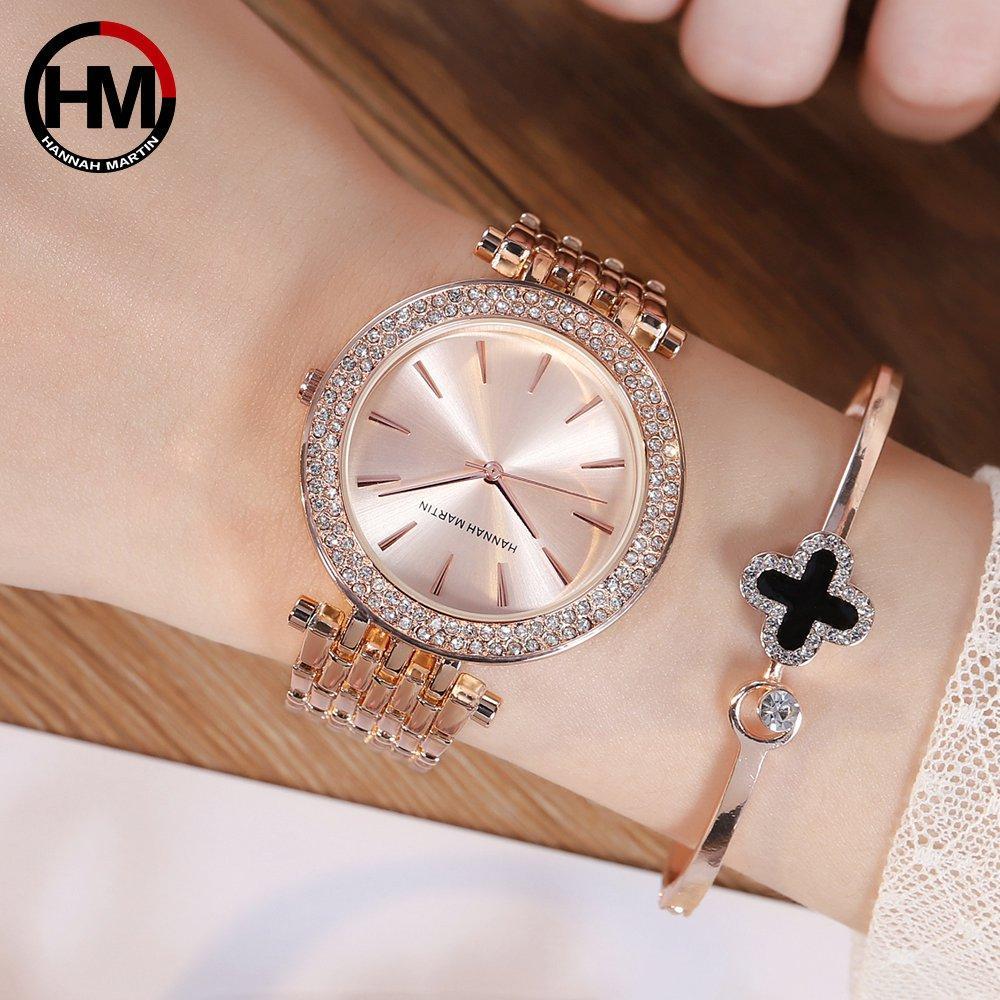 Strass Donne Orologi di marca superiore di lusso diamante dell'oro della Rosa di modo di affari impermeabili orologi del quarzo Relogio Feminino