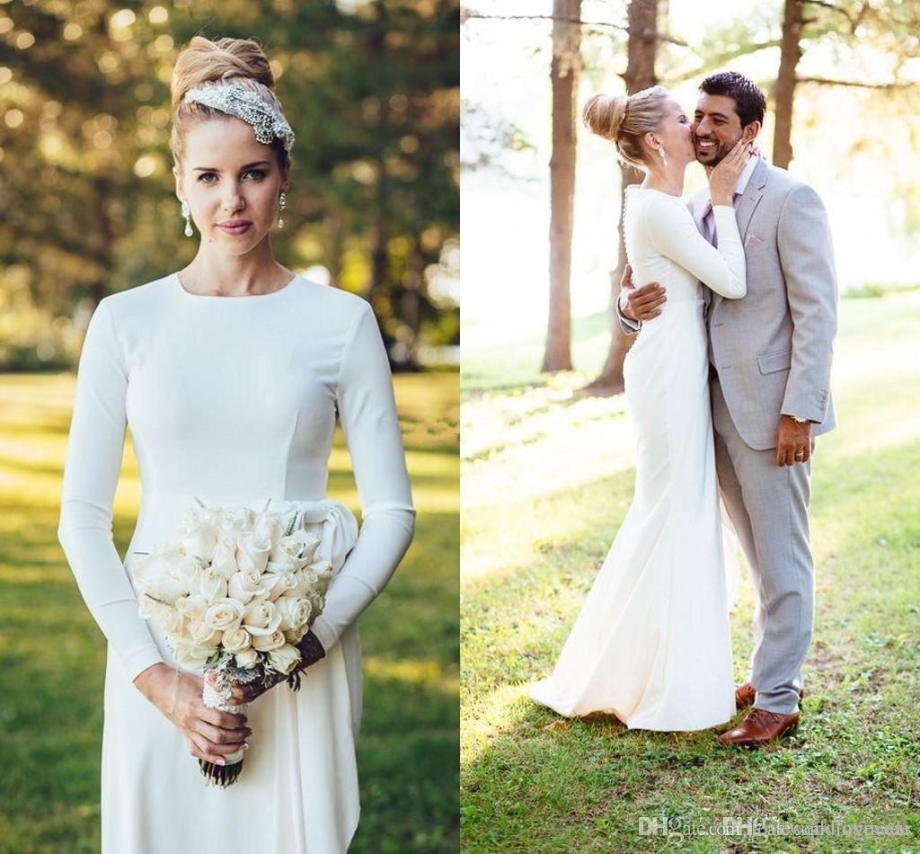 Garden Country 2019 Robes de mariée sirène simples en satin À manches longues Bijou Etage Longueur Plage Robes de mariée robe de mariée