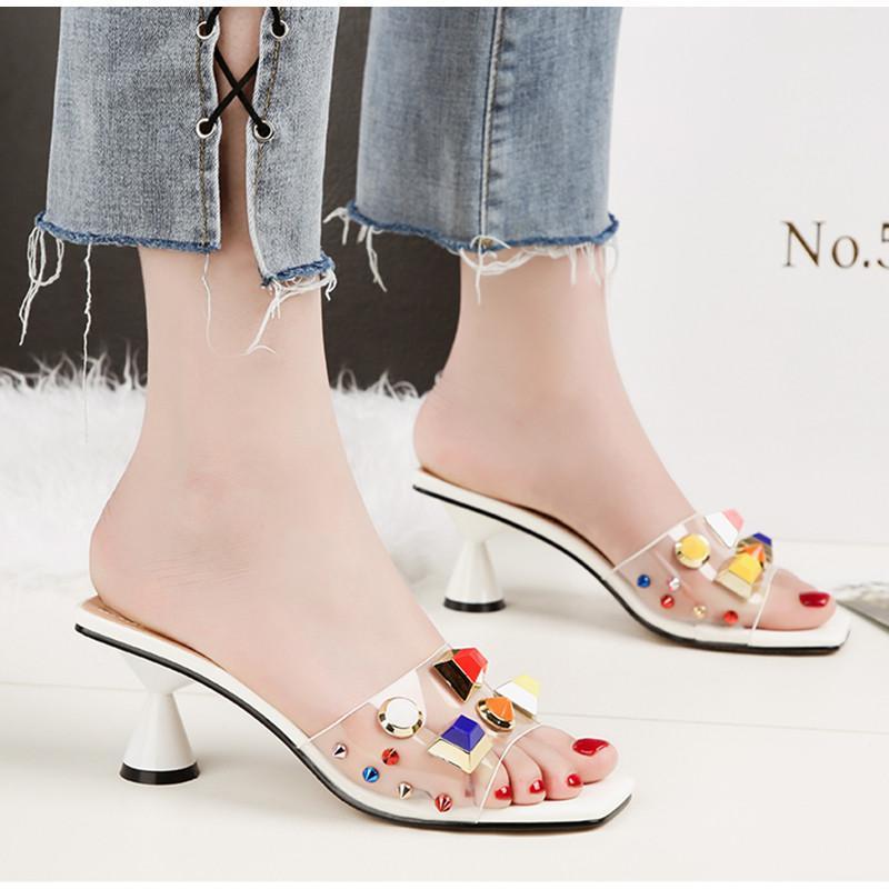 الكعوب المرأة الصيف PVC النعال العالية الصنادل أزياء كاندي الألوان أنثى زحافات عطلة عادية جيلي أحذية امرأة