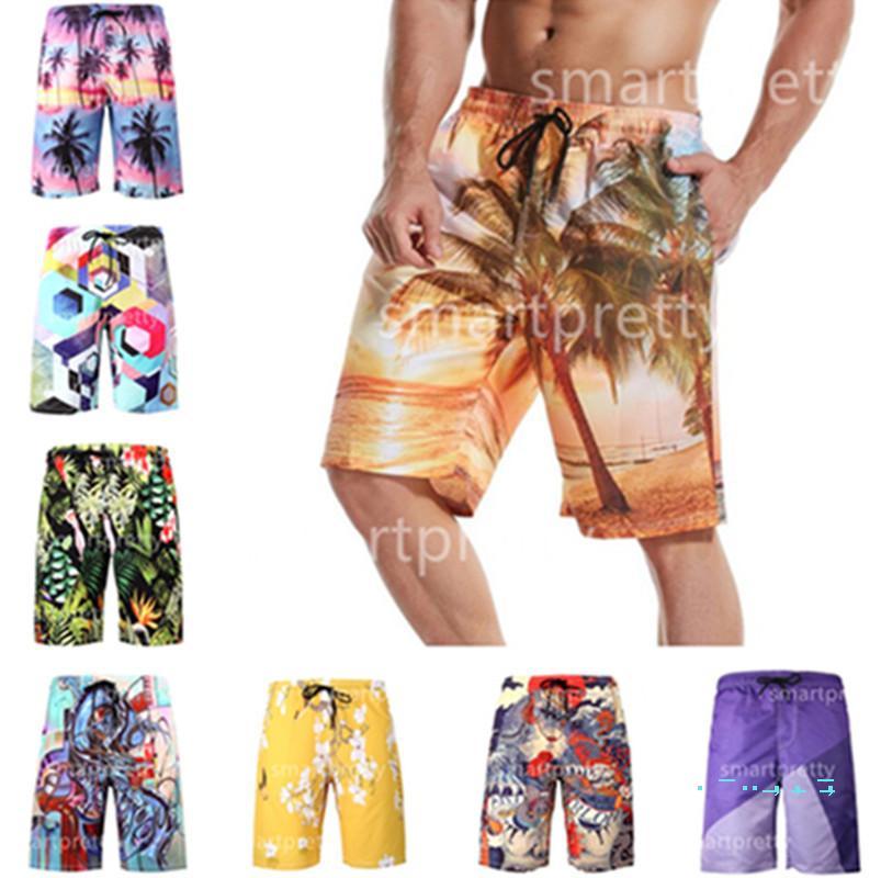 Men's Beach Shorts Pants Floral Dragon Coconut palm Car Print Summer Sports Shorts S-6XL Quick Dry with Mesh Layer Beachwear LY327