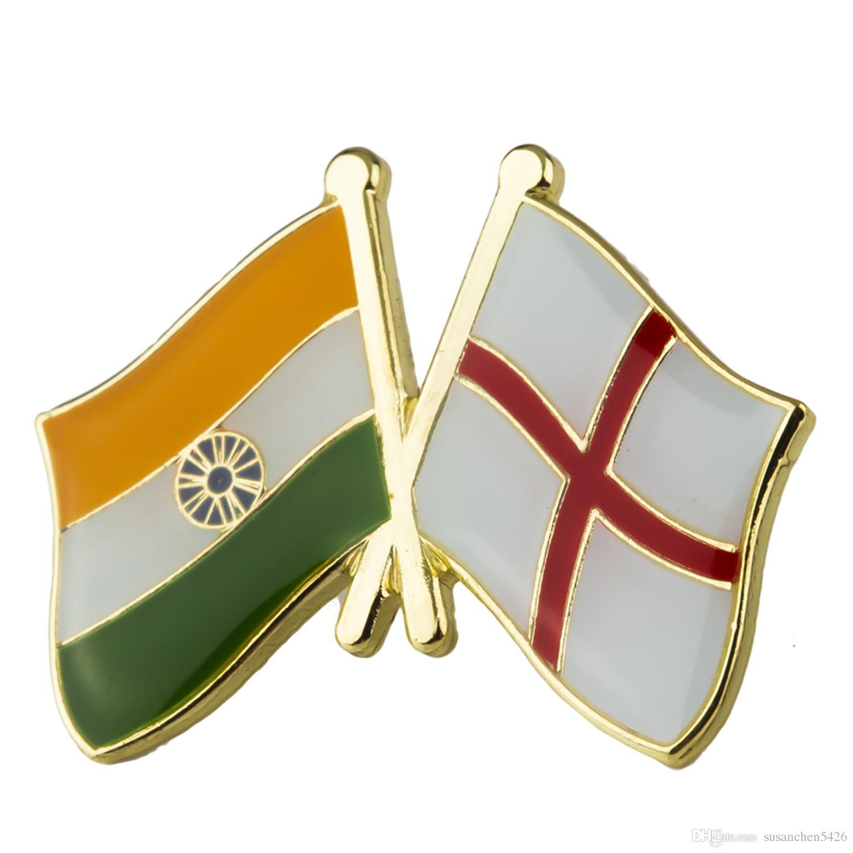 Hindistan İngiltere Dostluk Rozetleri Simge Çanta Dekorasyon Düğmeleri Broş elbise XY0341