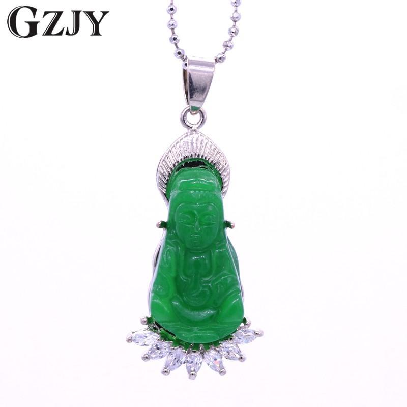 GZJY Moda Boa Sorte Guanyin Buddha Pedra Verde Zircão Colar de Pingente de Cor do Ouro Branco Para As Mulheres Jóias Presente de Aniversário