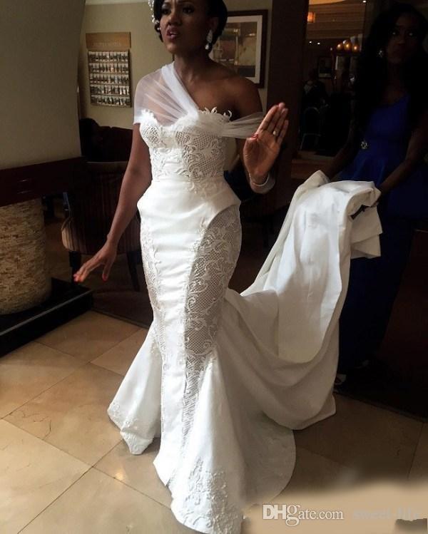 2020 African White Appliqued Mermaid Bridal Wedding Dresses Sleeveless Sexy Plus Size Bride Dress Vestido De Novia