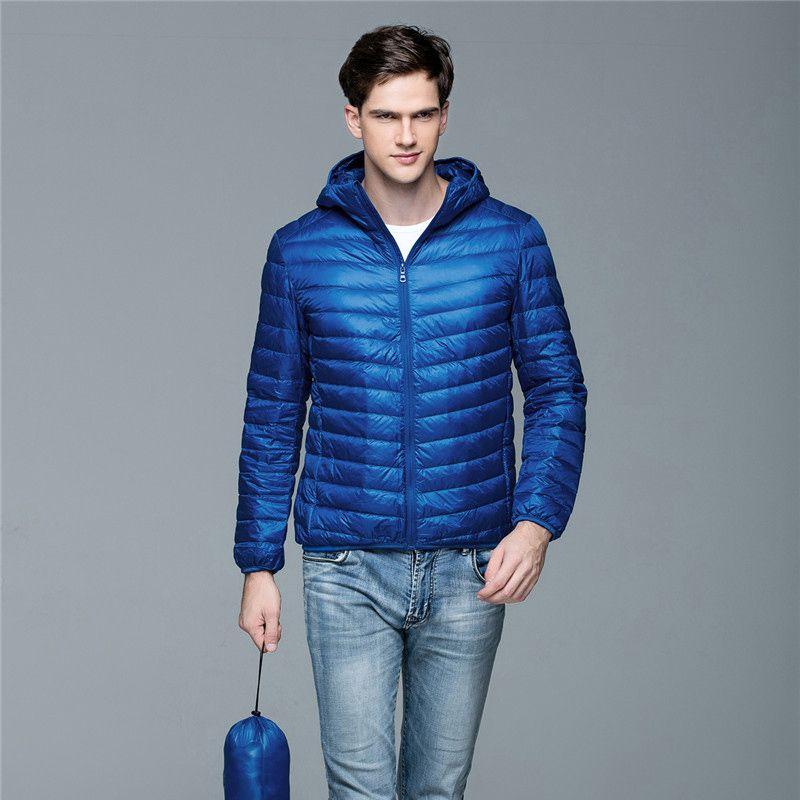 Homem Outono-Inverno Casaco branco Duck Down Jackets homens encapuzados ultra-leve jaquetas revestimento morno Outwear Parkas Ar Livre