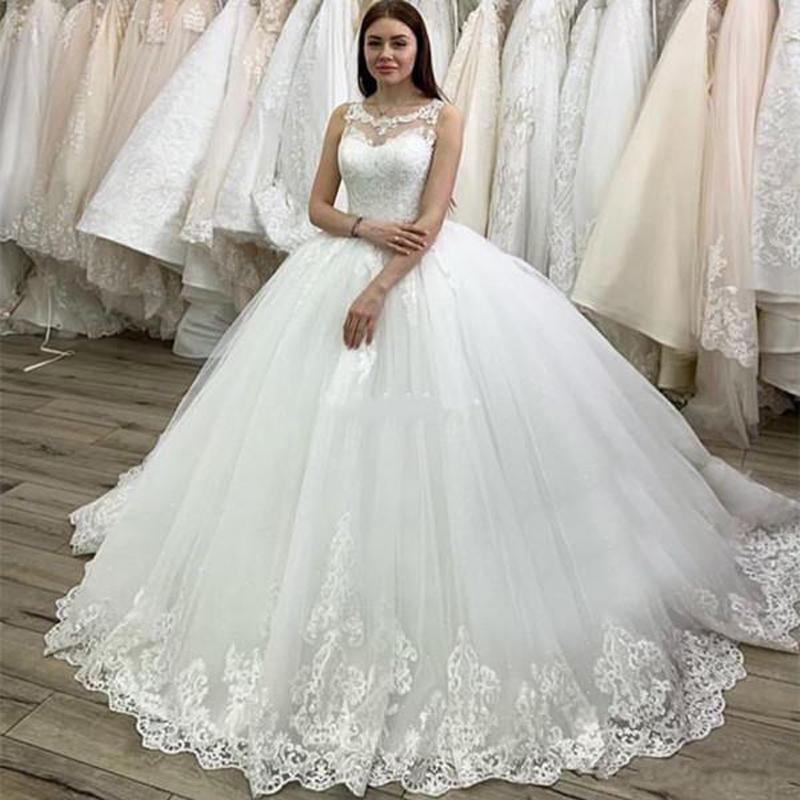 Custom Jewel Neck Lace Ball Gown Wedding Dresses 2020 with Appliques Court Train Tulle Plus Size Wedding Bridal Gowns