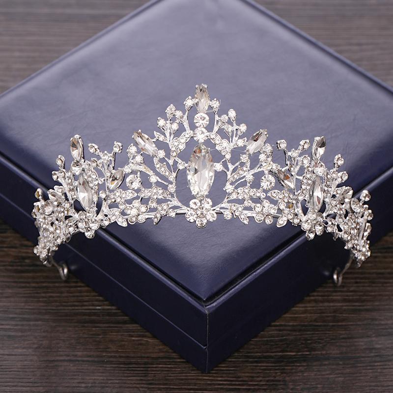 Cabelo Baroque Silver Cristal Tiara Crown Rhinestone casamento cabelo Acessórios nupcial Crown Diadema Ornamentos Prom Headpiece casamento