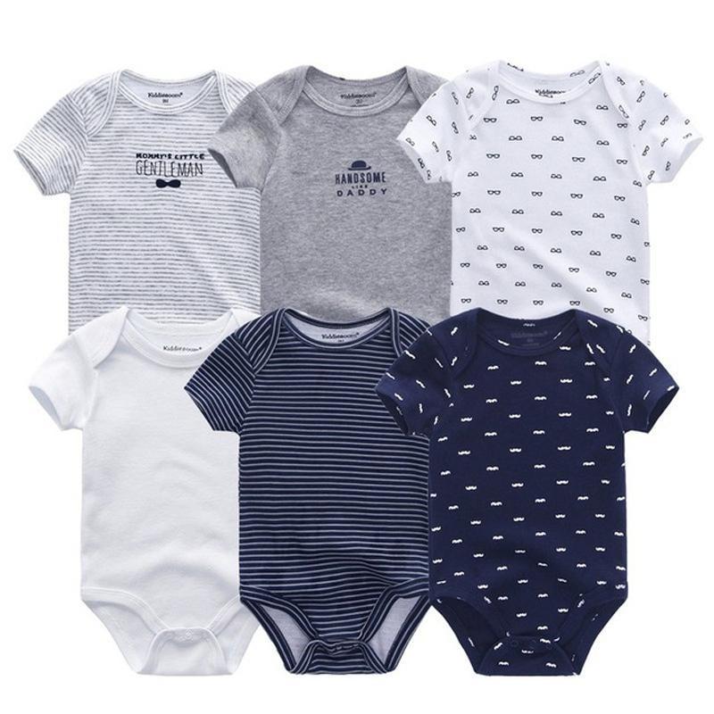 6 Pcs/lot Newborn Bodysuits Short Sleevele Clothes O-neck 0-12m Jumpsuit 100%cotton Baby Clothing Infant Sets Q190520