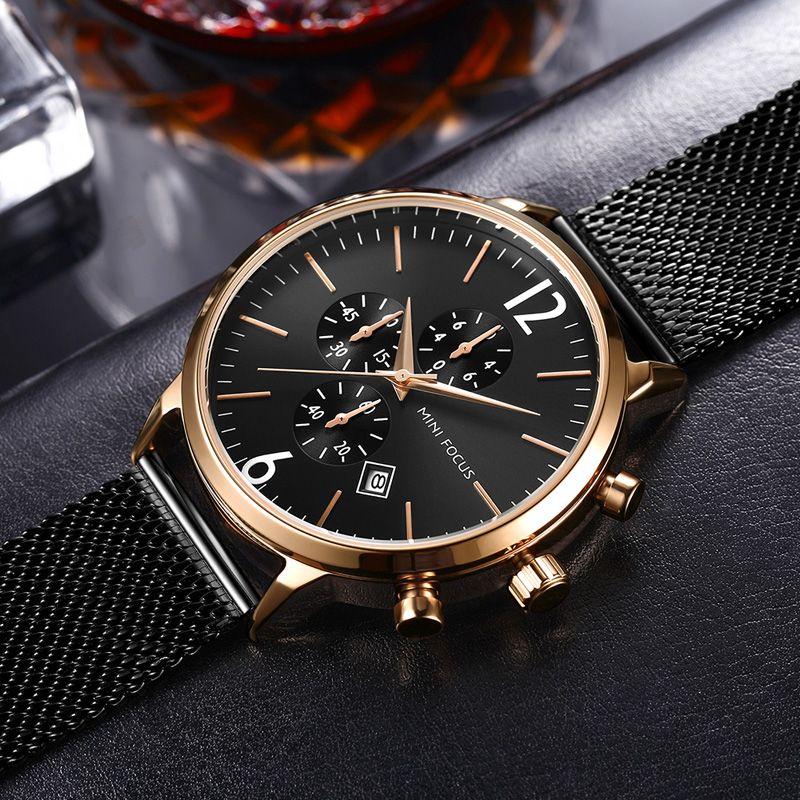 Черные часы Лучший бренд Man Часы с хронографом Спорт Водонепроницаемые часы Man Часы Военные Роскошные мужские часы Аналоговые кварцевые