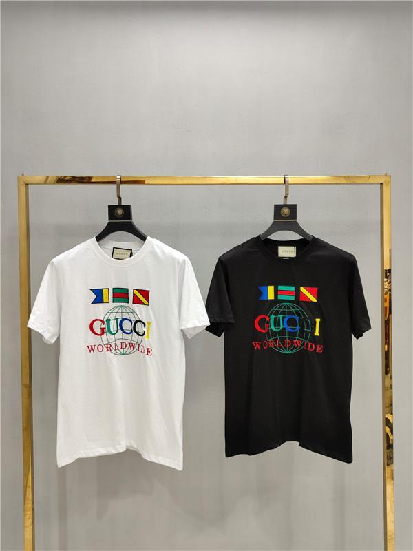 2020ss primavera e algodão novo alto grau de verão impressão de manga curta rodada painel pescoço t-shirt Tamanho: m-l-xl-XXL-XXXL Cor: w738 preto branco