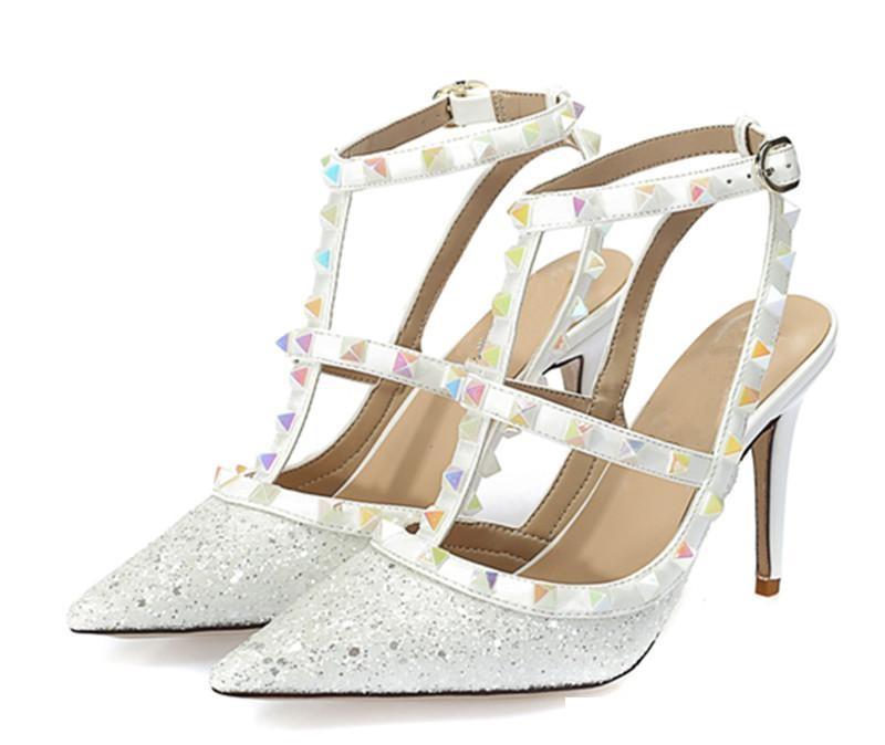 Bling Bling plata del negro Remaches mujeres de los zapatos del brillo punta estrecha altos talones atractivos Bombas vestido de fiesta de los zapatos de la mujer de 6 cm 8 cm 10 cm tacones
