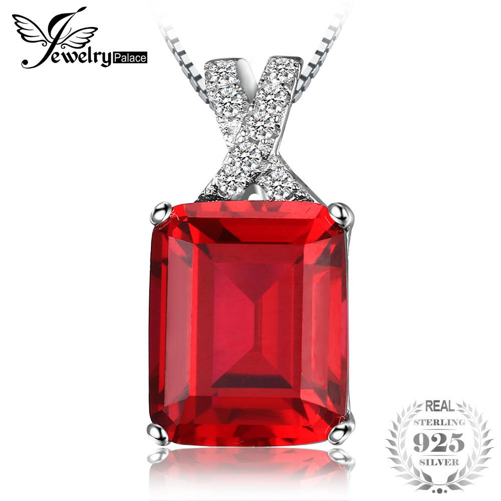 Jewelrypalace Emerald Cut 6ct Created Red Ruby Pendant Solid 925 Sterling Silver Fine Jewelry For Women Gift Not Include A Chain J190525