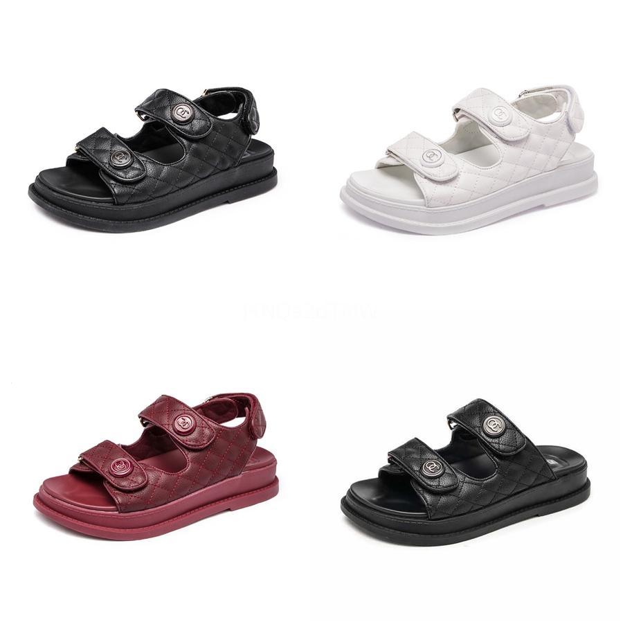 # 652 ile ayakkabı Kadın Deri Düz Kapak Sandalet 2020 Yaz Metal H Slaytlar Bayanlar Terlik Moda