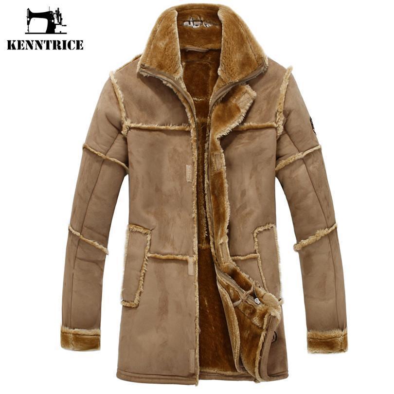 도매 - KENNTRICE 트렌치 코트 남성 스웨이드 자켓 패치 워크 가죽 재킷 남성 가짜 모피 코트 럭셔리 두꺼운 긴 스웨이드 자켓을 따뜻하게