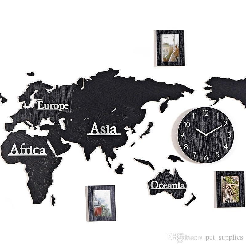 New Wooden Digital Wall Clock DIY 3D World Map With 3 pieces Photo frame Living room Decorative Large Size Wall Clock 130cm * 60cm