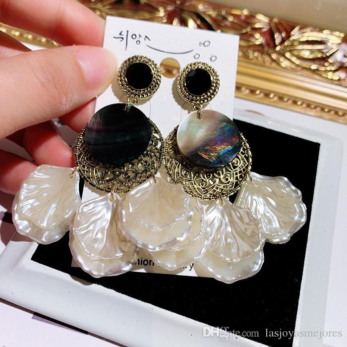new hot ins fashion luxury designer exaggerated vintage shell tassel dangle stud earrings for woman girls