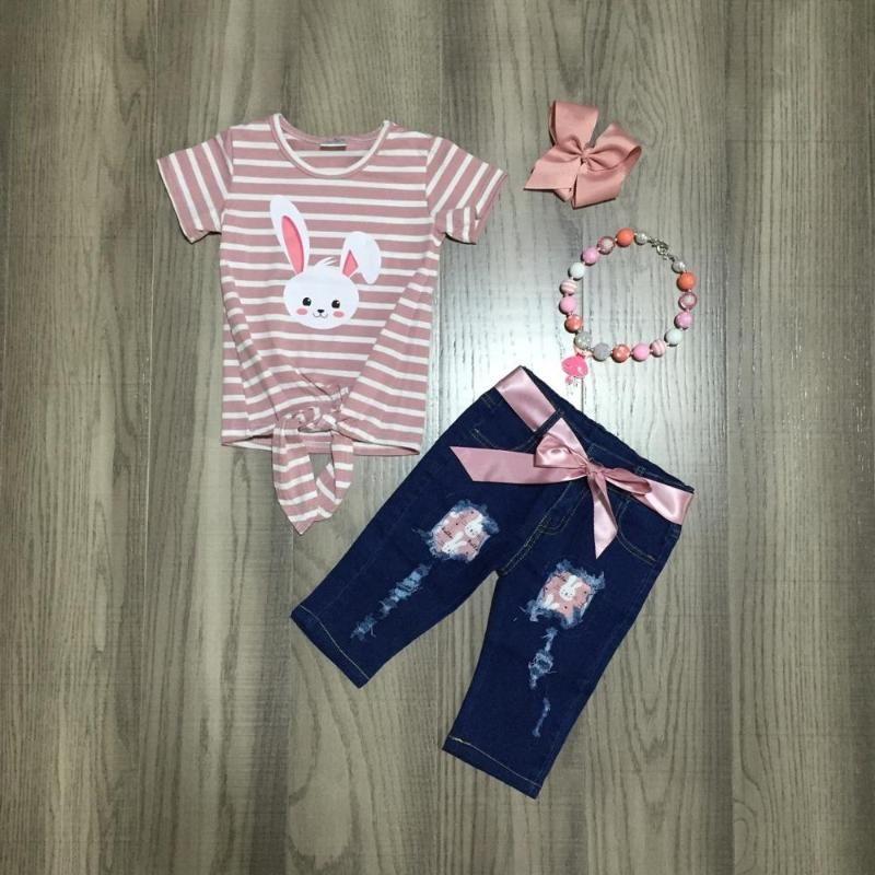 spring/summer Easter stripe top milk silk jeans capris baby girls children clothes cotton ruffles boutique set match bow