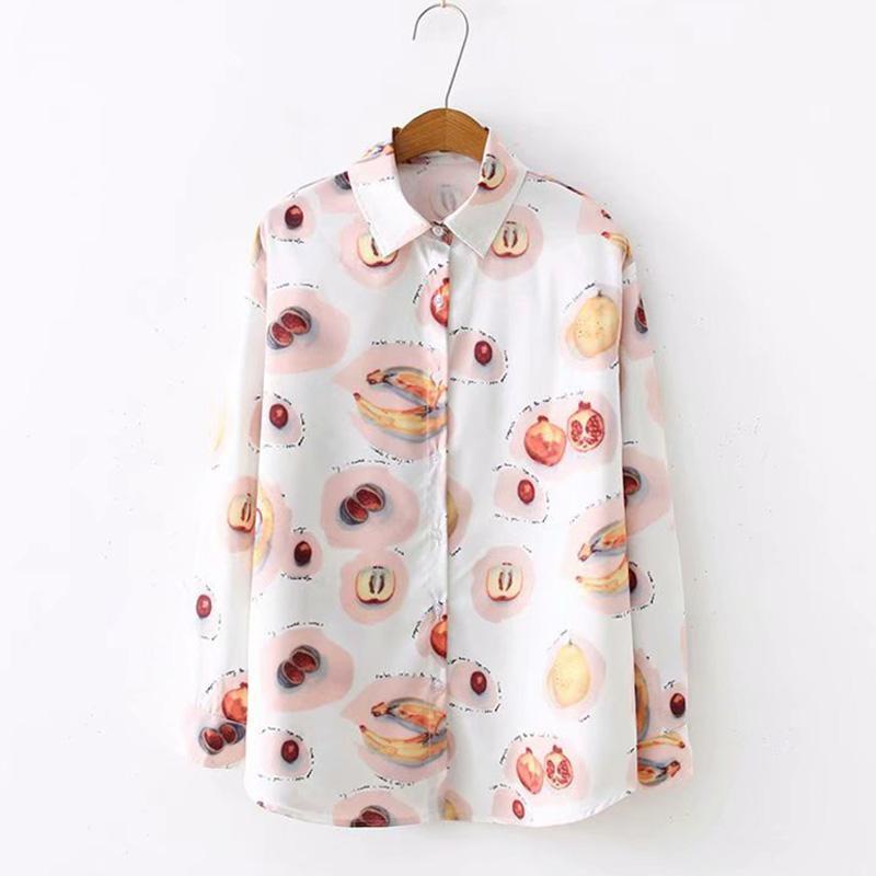 Sweet Fashion Women Shirts 2019 Fruit Print Women Camicette Camicia a maniche lunghe in chiffon Estate Turn Down Collar Casual Top da donna