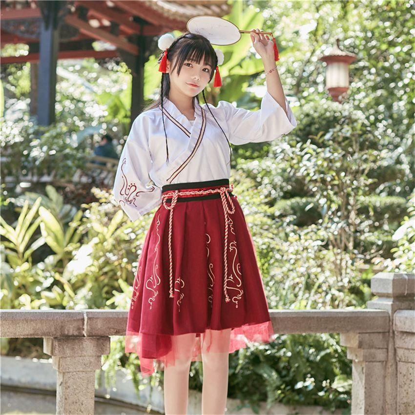 Sommer-Frau japanisches traditionelles Kleid Stickerei Alte Mode Kimono-Mädchen Japanische Art Kleidung Outfits Lace Up Skirt