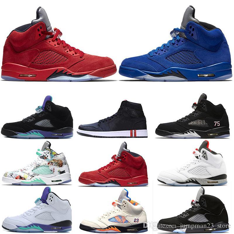 mavi süet Kırmızı Jumpman atletik basketbol ayakkabıları 5s V psg x çiftleri erkekler için siyah beyaz üzüm Kamuflaj Gri OG 1 spor eğitmenleri