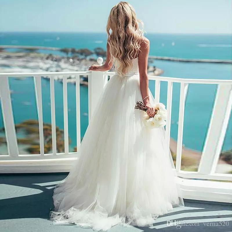 Beach Abito da sposa i vestiti dalle donne dell'abito di Alibaba Vestito nuziale su ordinazione con cinghia di spaghetti