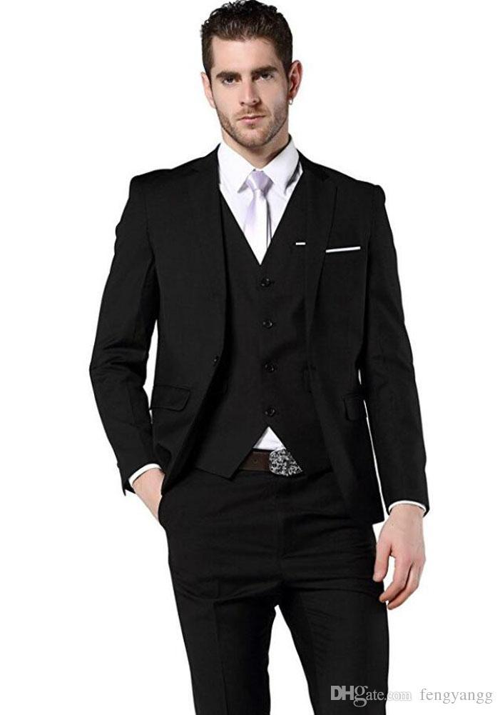 أزياء الرجال السود الدعاوى 3 أجزاء يتأهل أفضل الرجال الدعاوى زفاف العريس البدلات الرسمية حفلة موسيقية ارتداء بدلة الرجال السترة (سترة + سروال + سترة)