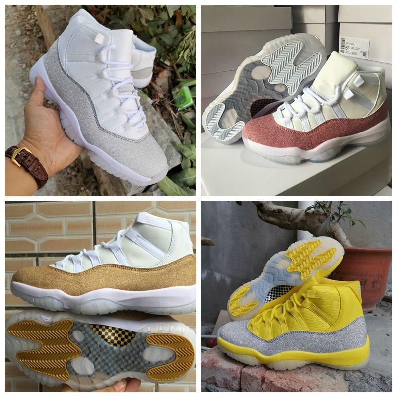 Comparar com itens semelhantes New Jumpman 11 XI Roxo Light Star White Gold Metallic Amarelo prata calça Mens Basquete Esporte Sneakers Mulheres