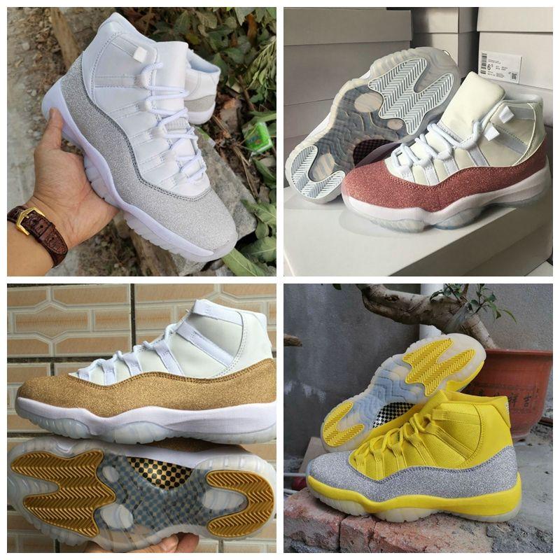 مقارنة مع الأصناف المشابهة جديد air jordan 11 Jumpman 11 XI الأرجواني ضوء النجمة الذهبية أبيض أصفر لامع فضي أحذية الرجال لكرة السلة الرياضة احذية النساء