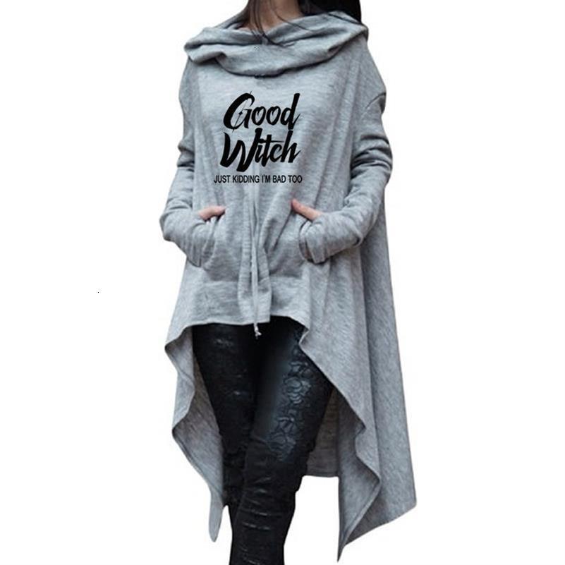 Letter Letters Print Hoodies For Women Long Irregular Sweatshirts Hoodies Kawaii Femmes Casual 2018 Printing Clothings Street CJ191205