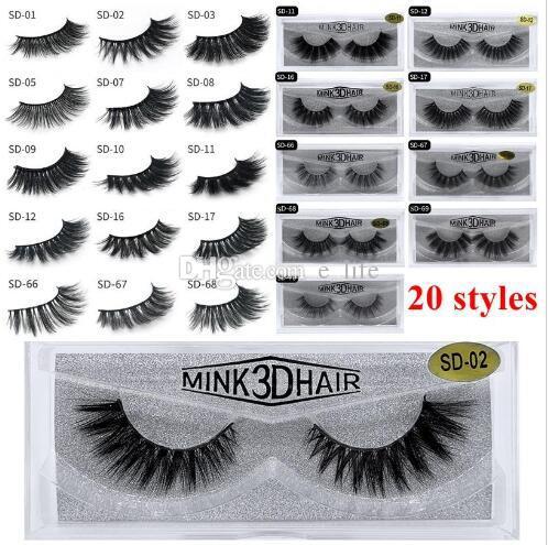 2020 Новейшие 3D макияж норка Ресницы глаз норковые Накладные ресницы Soft Natural Толстые ресницы 3D Eye Lashes Расширение красоты Инструменты 20 стилей