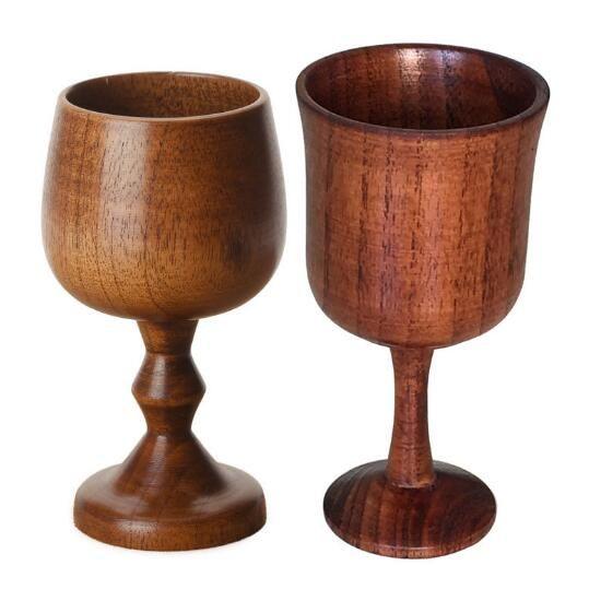 protection de l'environnement coupe de vin rouge rond verre de vin classique coupe du bois massif en bois
