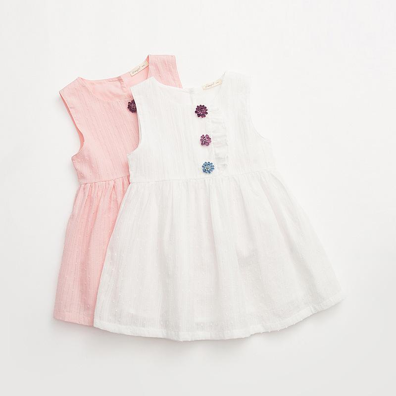 Shimiike brand children's clothing 2018 summer new vest skirt three-dimensional small flower fungus lace girls dress