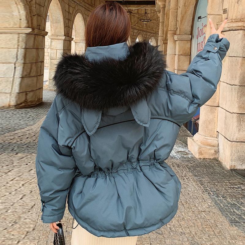 Réel naturel fourrure de raton laveur 2019 Doudounes Femmes Canard Blanc Manteau Femme chaud épais de qualité supérieure courte neige parka Outwear