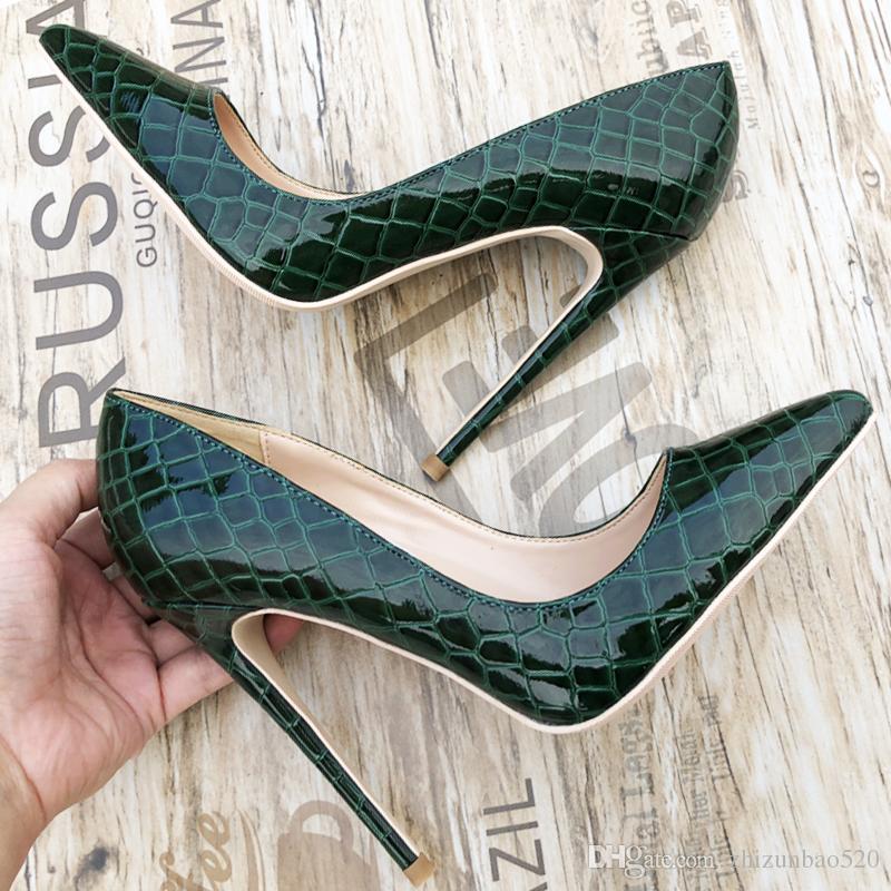 Повседневная дизайнер сексуальная леди мода женщины насосы острым носом крокодил патент печатных дизайнеров высокие каблуки насосы 12 см 10 см 8 см шпильки каблуки