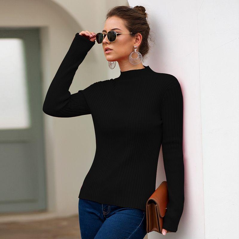 Maglioni da donna slim fit Autunno Inverno Top Maglione dolcevita Pullover Maglione lavorato a maglia Maglione donna Solido manica lunga Outwear Top