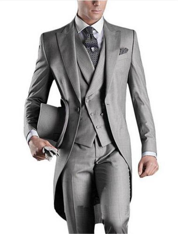 Long Tailor Coat Grey Men Suit For Wedding 3pieces(Jacket+Pants+Vest+Tie) Masculino Trajes De Hombre Blazer