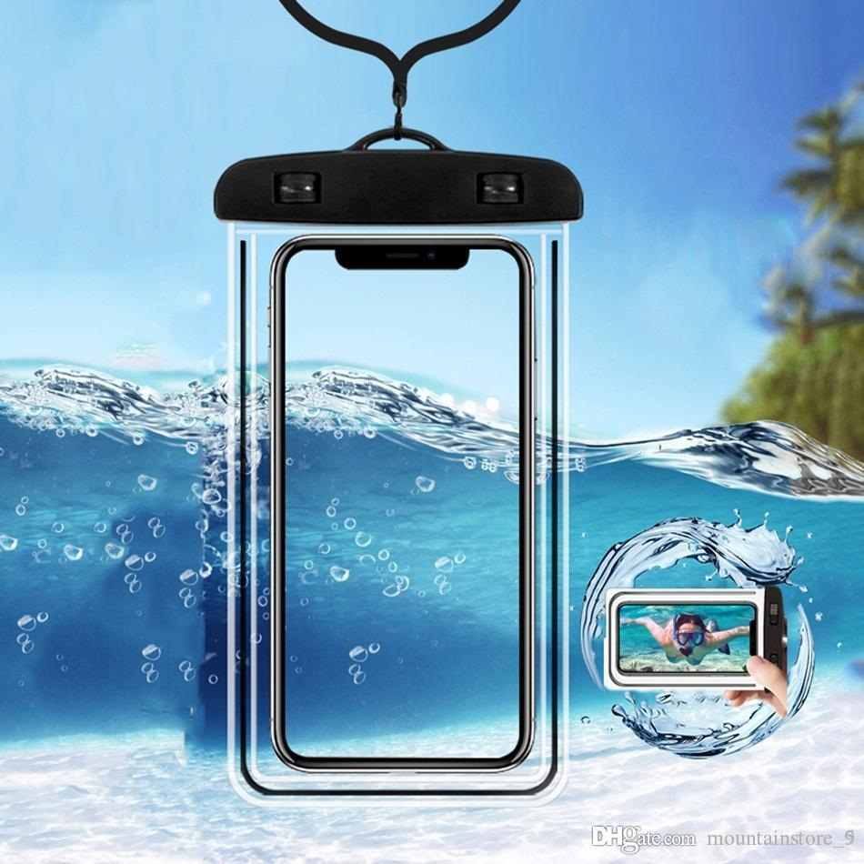 Waterproof Mobile Phone Case For iPhone Xs Max Xr 8 7 Samsung Clear PVC Sealed Underwater Cell Smart Phone Dry Pouch Cover (Retail)