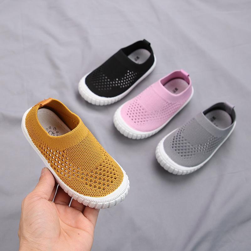 2019 Verão sapatos da criança infantil Meninas Meninos Casual malha sapatos macios inferior Confortável antiderrapante Kid Baby First Walkers Calçados J190622