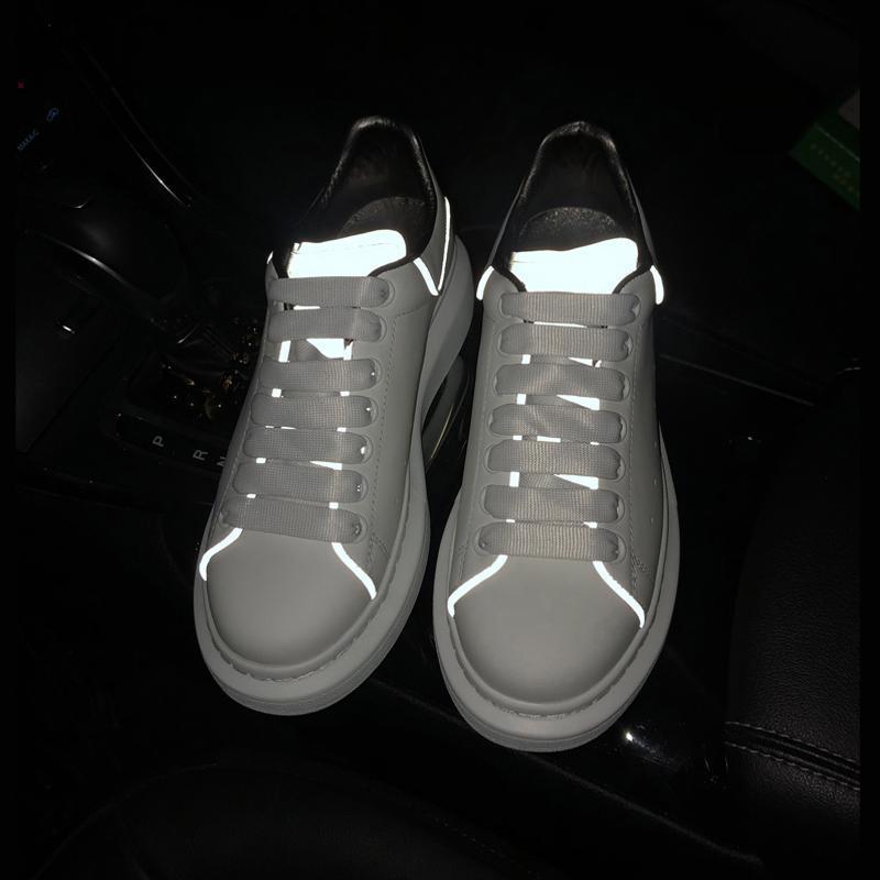 Diseñador de zapatos de plataforma 3M reflectante de color rojo calzados informales de cuero negro de color blanco para niñas, mujeres, hombres oro verde zapatos planos tamaño 36-44 A146