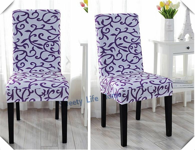 Printing spandex chair covers Pure office chair cover, White &Purple dining chair cover for wedding or hotel