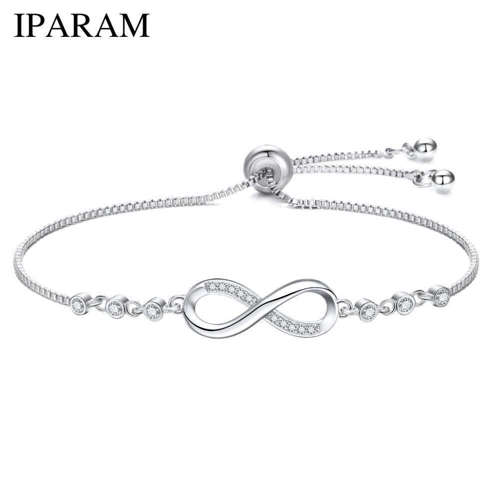 Luxuriöse Kristallarmband-Silber-Farben-justierbare Unendlichkeit Charme-Armbänder für Frauen Fashion Jewelry 2018 New