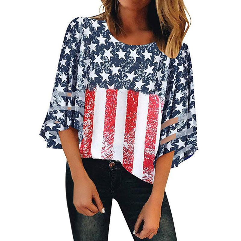 American Flag Prints Blouses Women Round Neck Casual Mesh Panel Blouse 3/4 Bell Sleeve Top Shirt Loose Women Clothes #LR3