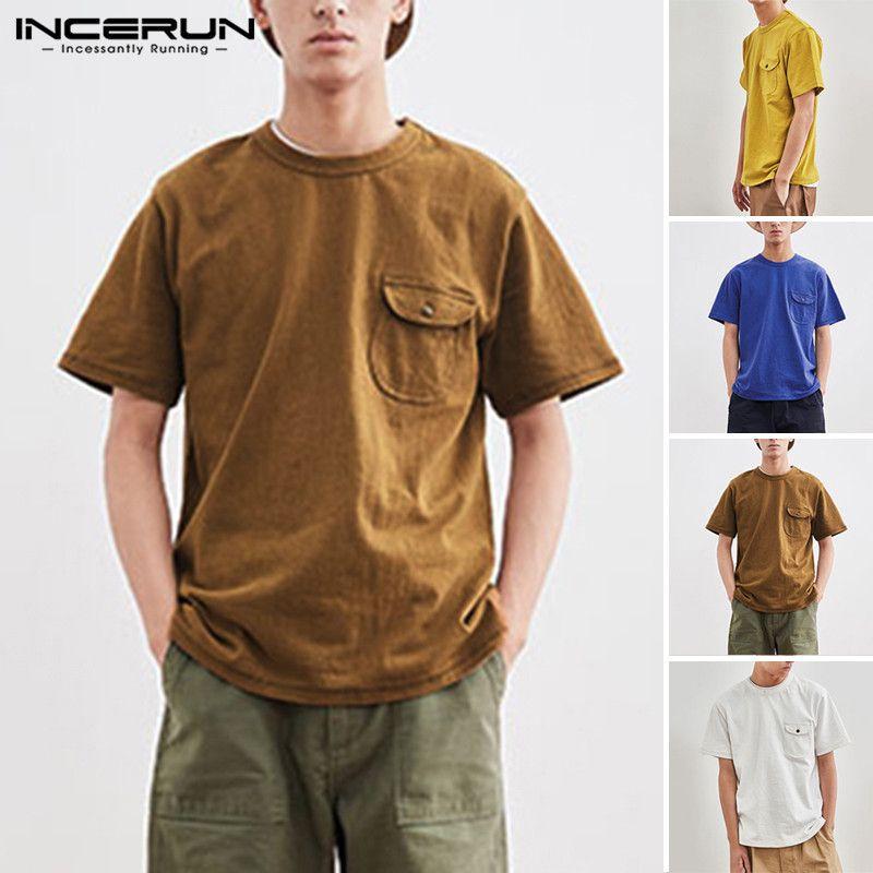 INCERUN 2020 Summer Men Basic Pockets T Shirt Short Slee Sleek Streetwear Tees Solid Color Brand Breathable Loose Camisa